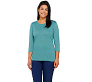 Lisa Rinna Collection 3/4 Sleeve Knit Top with Back Detail - A264573