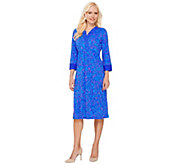 Bob Mackies 3/4 Sleeve Batik Printed Dress with Contrast Trim - A266373