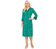 Bob Mackies 3/4 Sleeve Batik Printed Dress with Contrast Trim - A266373