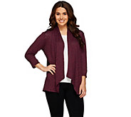 Joan Rivers Draped Popcorn Knit Cardigan with 3/4 Sleeves - A268573