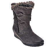 Earthies Leather Wedge Boots w/ Faux Fur Trim - Gelderland - A270073