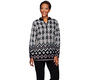 Bob Mackies Long Sleeve Half Zip Printed Fleece Pullover - A271373