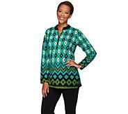 Bob Mackies Long Sleeve Half Zip Printed Fleece Pullover - A271373