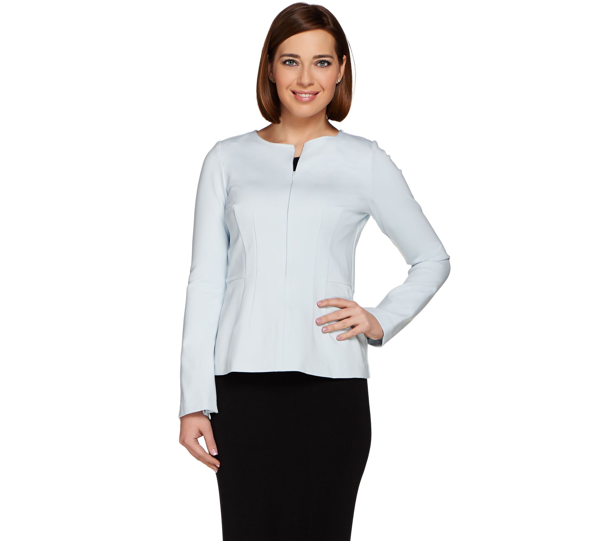 G.I.L.I. Zip Sleeve Milano Ponte Top - A273273