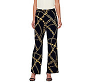 Susan Graver Printed Liquid Knit Comfort Waist Wide Leg Pull-On Pants - A273473