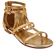 Marc Fisher Suede Fringe Sandals w/ Adj. Ankle Straps - Laryn - A274273