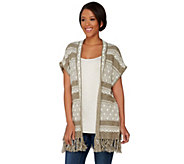 Studio By Denim & Co. Novelty Stitch Poncho with Fringe - A275273