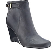 As Is Isaac Mizrahi Live! Leather Wedge Ankle Boots w/ Gold Buckle - A277673