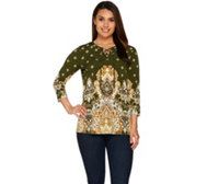 Susan Graver Printed Liquid Knit 3/4 Sleeve Tunic w/Lacing