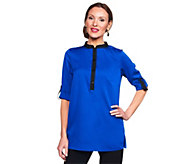 As Is Joan Rivers Modern Chic Blouse with Contrast Trim - A282673