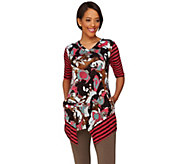 As Is LOGO by Lori Goldstein Printed Top with Contrast Stripe Detail - A282973
