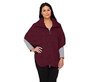 As Is Aran Craft Merino Wool Zip Front Cape - A283873