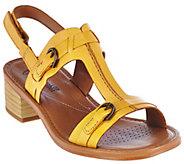 As Is Clarks Leather Block Heel T-Strap Adj. Sandals - Reida Madalyn - A284473