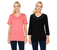 As Is Quacker Factory Set of 2 Super Sparkle V-neck T-shirts - A284973