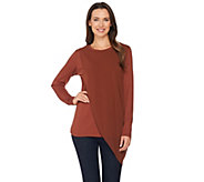Lisa Rinna Collection Long Sleeve Knit Top with Chiffon Overlay - A285573
