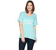 Peace Love World Short Sleeve Affirmation Print Knit Top - A288673