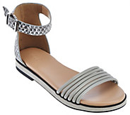 As Is LOGO by Lori Goldstein Ankle Strap Footbed Sandals - A288973