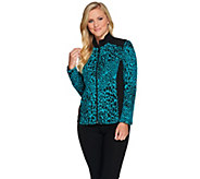 As Is Susan Graver Weekend Jacquard Knit Jacket with Terry Trim - A289573