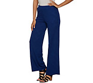 Dennis Basso Jacquard Knit Wide Leg Pull On Pants - A291573
