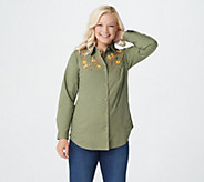 Quacker Factory Button Front Denim Tunic w/ Embellished Front Motif - A294773