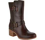 Clarks Artisan Leather Mid Calf Boots with Buckles - Maypearl Oasis - A297173