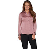 Dennis Basso Stretch Button Front Blouse - A298273