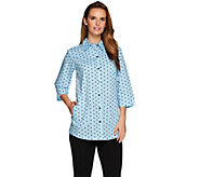 As Is Joan Rivers 3/4 Sleeve Polka Dot Boyfriend Shirt - A298673