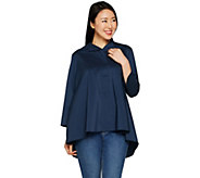 Martha Stewart Stretch Poplin 3/4 Sleeve Hi-Low Hem Blouse - A301073