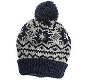 MUK LUKS Womens Snowflake Nordic Pom Cuff Cap - A337573