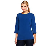 Susan Graver Essentials Liquid Knit 3/4 Sleeve Crew Neck Top - A209474