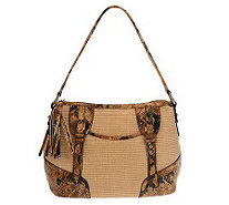 B.Makowsky SoftStrawZipTop Shoulder Bag with Python Print Leather - A224374