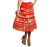 Susan Graver Printed Cotton Broomstick Tiered Skirt - A231974