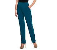 Susan Graver Liquid Knit Hollywood Waist Slim Leg Pants - A234274
