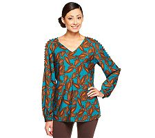 Lisa Rinna Collection Paisley Print V-Neck Open Shoulder Blouse