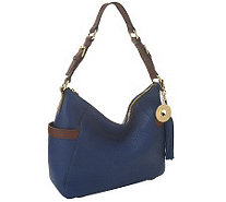 Isaac Mizrahi Live! Bridgehampton Pebble Leather Zip Top Hobo - A238274
