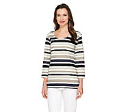 Liz Claiborne New York 3/4 Sleeve Striped Knit Top - A240274