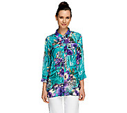 Susan Graver Printed Sheer Chiffon Button Front 3/4 Sleeve Blouse - A252474