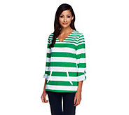 Susan Graver Weekend Striped Stretch Cotton Top with Roll Tab Sleeves - A255374