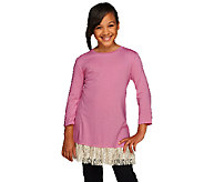 LOGO Littles by Lori Goldstein 3/4 Sleeve Knit Top with Lace Trim - A255474