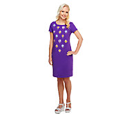 Bob Mackies Floral Embroidered T-Shirt Dress - A255574