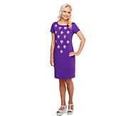 Bob Mackies Floral Embroidered T-Shirt Dress - A255574