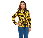 Isaac Mizrahi Live! Floral Printed Button Front Fleece Jacket - A256474