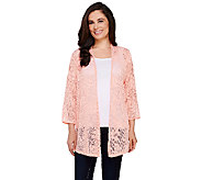 Joan Rivers Sheer Patterned Waterfall Cardigan - A263074