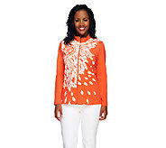 As Is Susan Graver Printed Cotton Spandex Zip Front Jacket - A263674