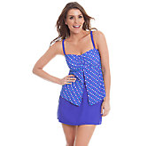 Liz Claiborne New York Dot Print Skirtini Swimsuit - A263774