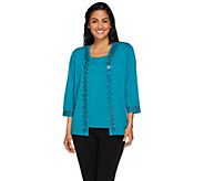 Bob Mackies Vermicelli Sequined Cardigan and Knit Tank Set - A266374