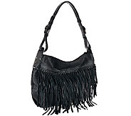 orYANY Italian Grain Leather Fringe Hobo - Josie - A266674