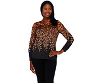 Bob Mackies Ombre Floral Printed Button Front Top - A268374