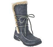 Earth Origins Suede Water Resistant Boots w/ Faux Fur Trim - Danielle - A270074