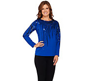 Bob Mackies Long Sleeve Bateau Neck Knit Top with Sequin Detail - A271374